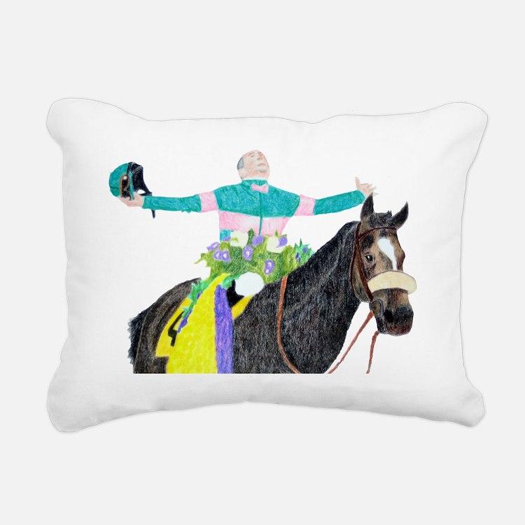 Mike Smith and Zenyatta Rectangular Canvas Pillow