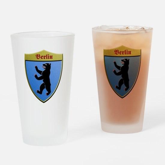 Berlin Germany Metallic Shield Drinking Glass