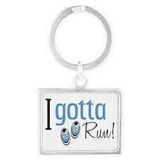 I Gotta Run in Blue Landscape Keychain
