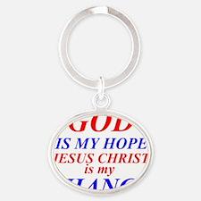 GOD IS HOPE Oval Keychain