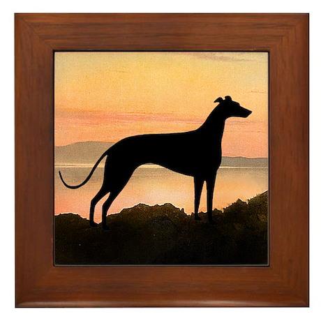 Greyhound Sunset Framed Tile