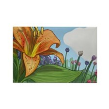 Tiger Lily Rectangle Magnet