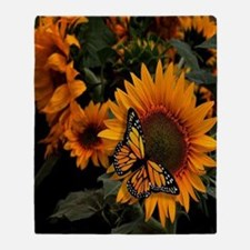 Sunflower Radiance Monarch Butterfly Throw Blanket