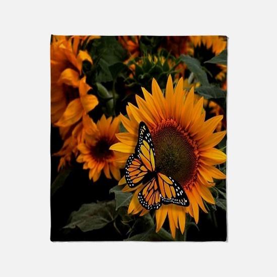 Sunflower Radiance Monarch Butterfly Throw Blanket