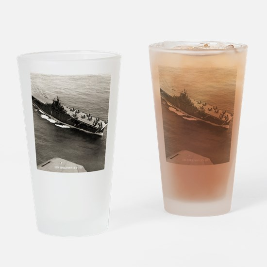 yorktown cv framed panel print Drinking Glass