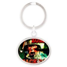 Zombie Attack Unit Run! Oval Keychain