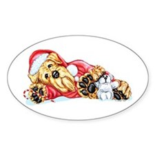 Airedale Christmas Santa Oval Decal