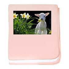 EASTER LAMB AND FLOWERS baby blanket