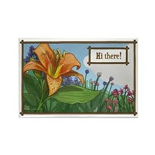 Tiger Lily Greeting Rectangle Magnet