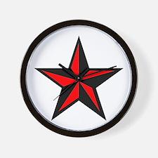Red Nauticle Star Punk Rock Wall Clock