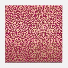 Pink and Gold Glam Leopard Pattern Tile Coaster