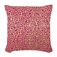 Pink and Gold Glam Leopard Pattern Woven Throw Pil