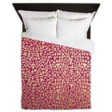 Pink and Gold Glam Leopard Pattern Queen Duvet