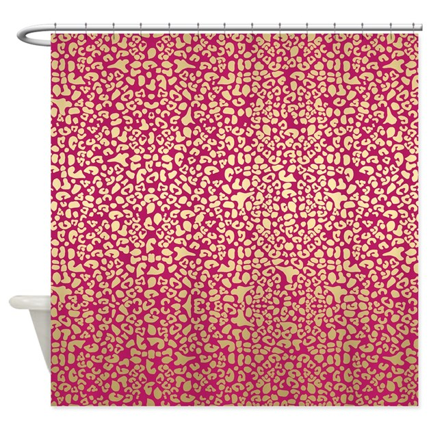 Pink And Gold Glam Leopard Pattern Shower Curtain By OhSoGirlyTKDesigns