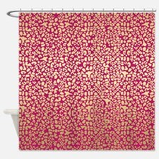 Pink and Gold Glam Leopard Pattern Shower Curtain
