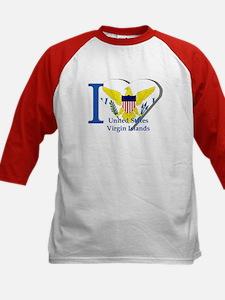 I love US VI flag Kids Baseball Jersey