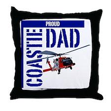 Love my Coastie - Proud Dad - Helo Throw Pillow