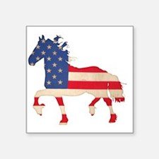 "American Flag Friesian Hors Square Sticker 3"" x 3"""