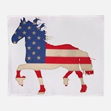 American Flag Friesian Horse Throw Blanket