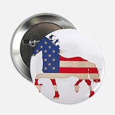 """American Flag Friesian Horse 2.25"""" Button"""