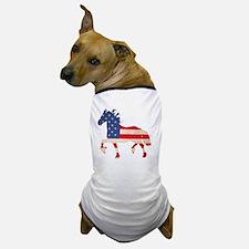 American Flag Friesian Horse Dog T-Shirt