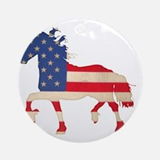 American Flag Friesian Horse Round Ornament