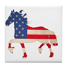 American Flag Friesian Horse Tile Coaster