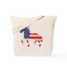 American Flag Friesian Horse Tote Bag