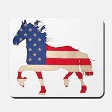 American Flag Friesian Horse Mousepad