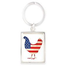 American Chicken Portrait Keychain