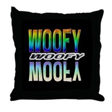 WOOFY-RAINBOW MIRROR TEXT/BLK Throw Pillow