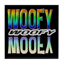 WOOFY-RAINBOW MIRROR TEXT/BLK Tile Coaster