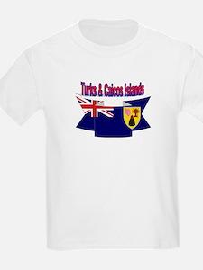Turks & Caicos Islands flag ribbon Kids T-Shirt