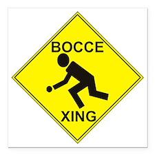 "BocceXing Square Car Magnet 3"" x 3"""