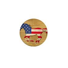 American Flag Horse Mini Button