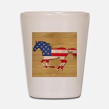 American Flag Horse Shot Glass