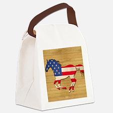 American Flag Horse Canvas Lunch Bag