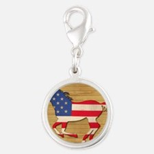 American Flag Horse Silver Round Charm