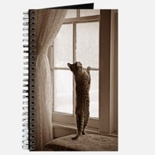 Sepia Kitty Playing In Window Journal