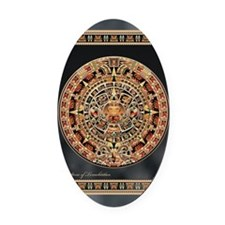 Sun Stone of Ancient Tenochtitlan Oval Car Magnet