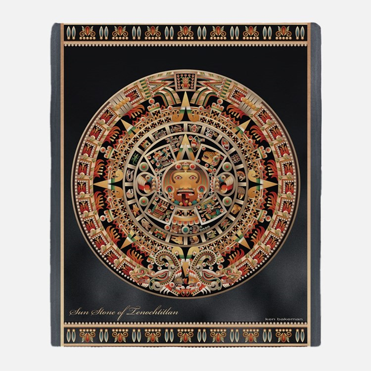 Sun Stone of Ancient Tenochtitlan Throw Blanket