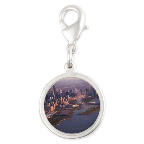 Chicago up high Silver Round Charm