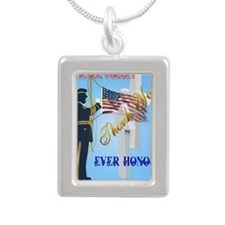 Large Poster Never Forge Silver Portrait Necklace