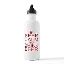 keepCALM-beer-red Water Bottle