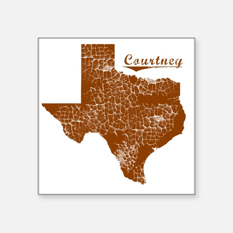 """Courtney, Texas (Search Any Square Sticker 3"""" x 3"""""""