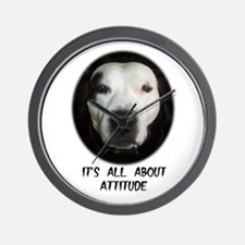 IT'S ALL ABOUT ATTITUDE (PIT BULL FACE) Wall Clock