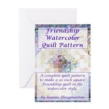 Friendship Water Color Quilt Pattern Greeting Card
