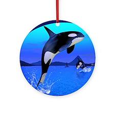 orca_twin_duvet Round Ornament