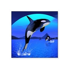 "orca_twin_duvet Square Sticker 3"" x 3"""