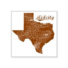 """Midcity, Texas (Search Any  Square Sticker 3"""" x 3"""""""